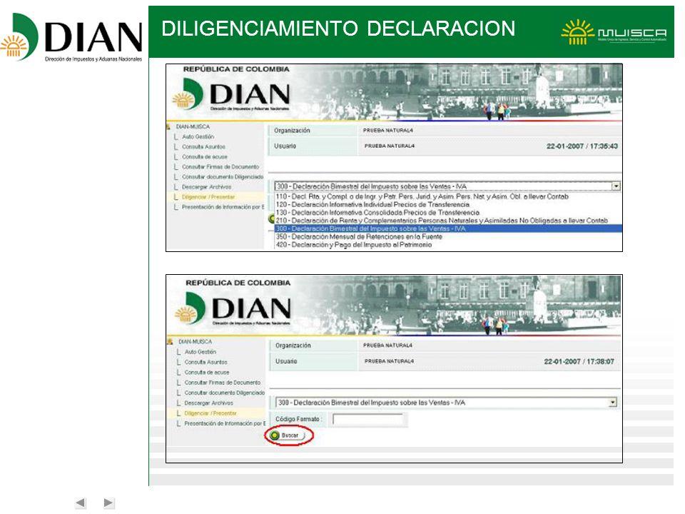DILIGENCIAMIENTO DECLARACION