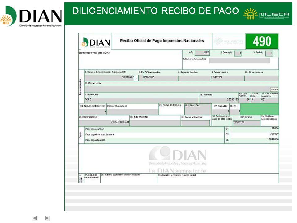 DILIGENCIAMIENTO RECIBO DE PAGO