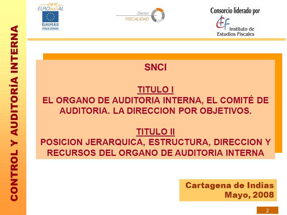 SNCI TITULO I. EL ORGANO DE AUDITORIA INTERNA, EL COMITÉ DE AUDITORIA. LA DIRECCION POR OBJETIVOS.