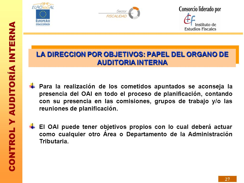 LA DIRECCION POR OBJETIVOS: PAPEL DEL ORGANO DE AUDITORIA INTERNA