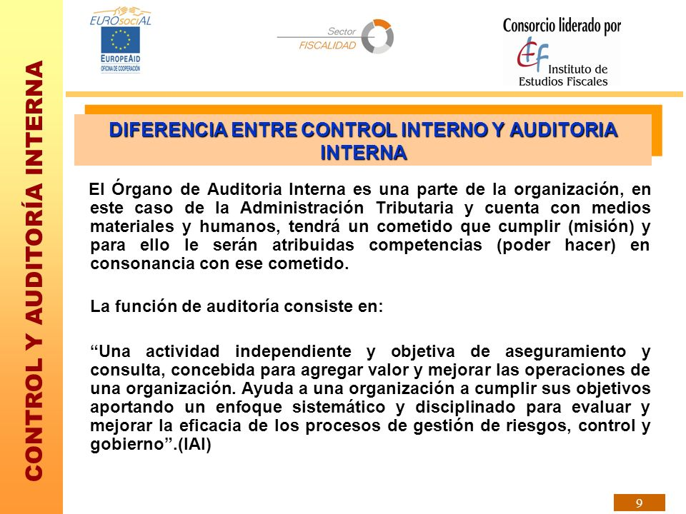 DIFERENCIA ENTRE CONTROL INTERNO Y AUDITORIA INTERNA
