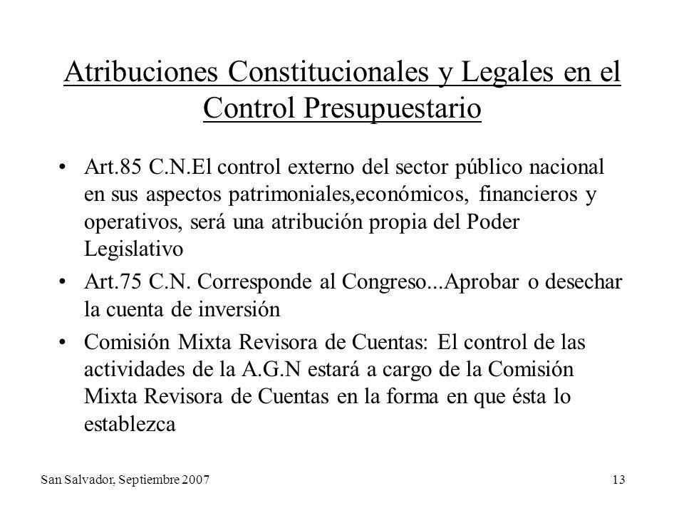 Atribuciones Constitucionales y Legales en el Control Presupuestario