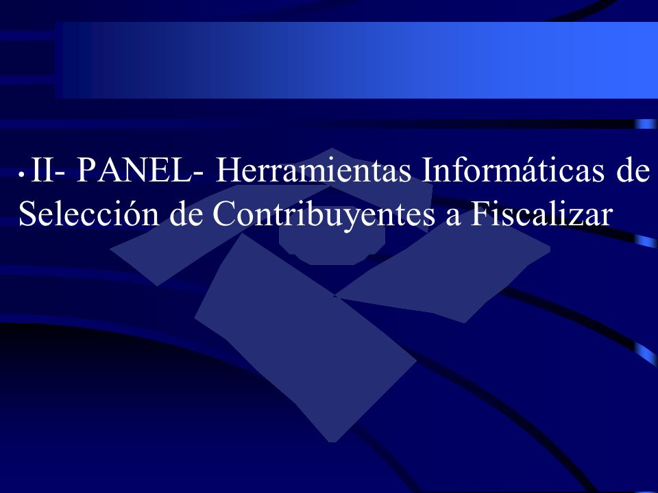 II- PANEL- Herramientas Informáticas de Selección de Contribuyentes a Fiscalizar