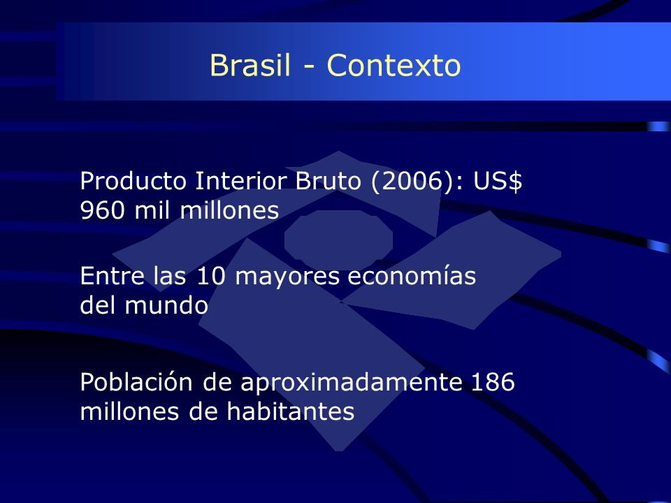 Producto Interior Bruto (2006): US$ 960 mil millones