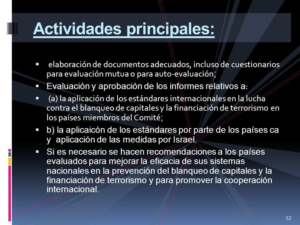 Actividades principales: