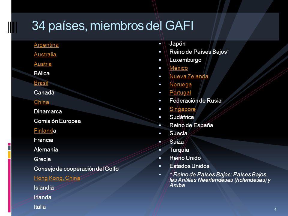 34 países, miembros del GAFI