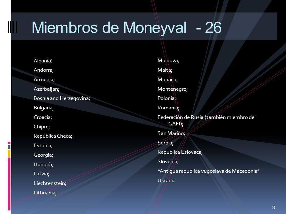Miembros de Moneyval - 26 Albania; Andorra; Armenia; Azerbaijan;