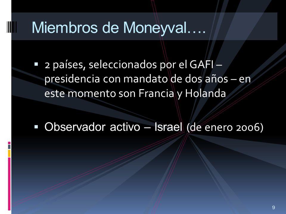 Miembros de Moneyval…. 2 países, seleccionados por el GAFI – presidencia con mandato de dos años – en este momento son Francia y Holanda.