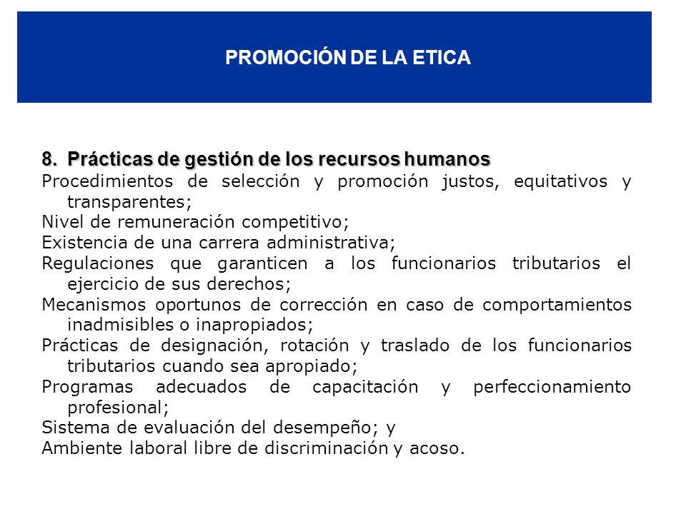 8. Prácticas de gestión de los recursos humanos