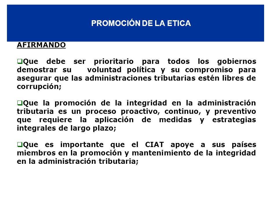 PROMOCIÓN DE LA ETICA AFIRMANDO