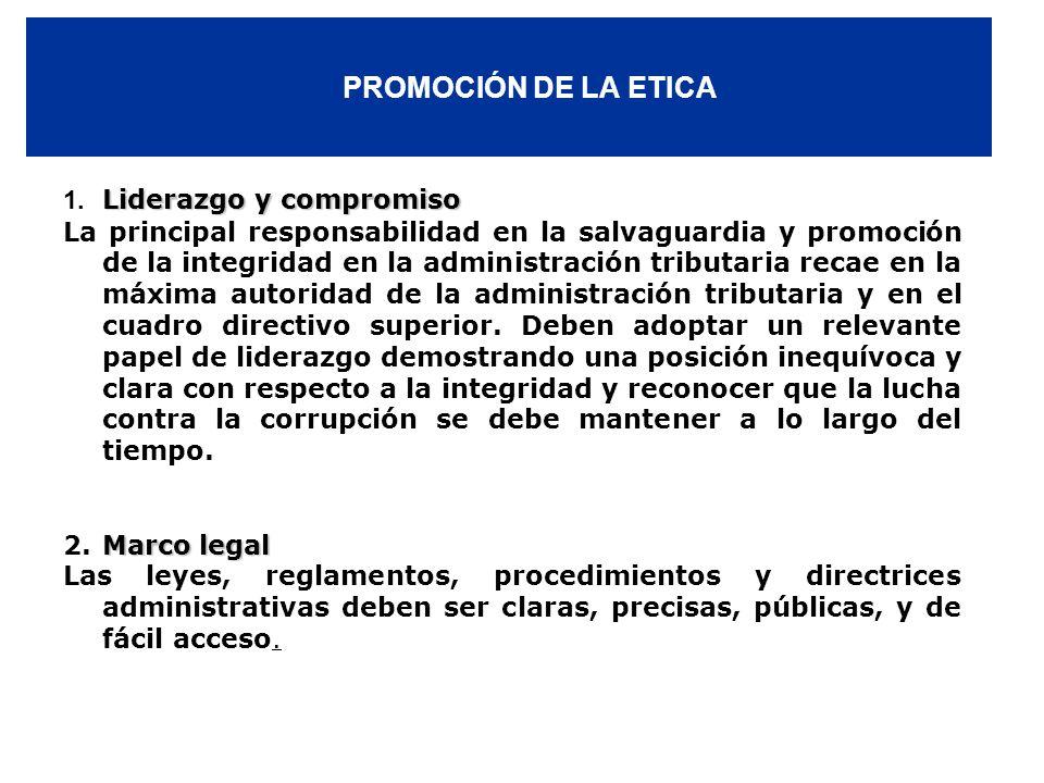PROMOCIÓN DE LA ETICA 1. Liderazgo y compromiso