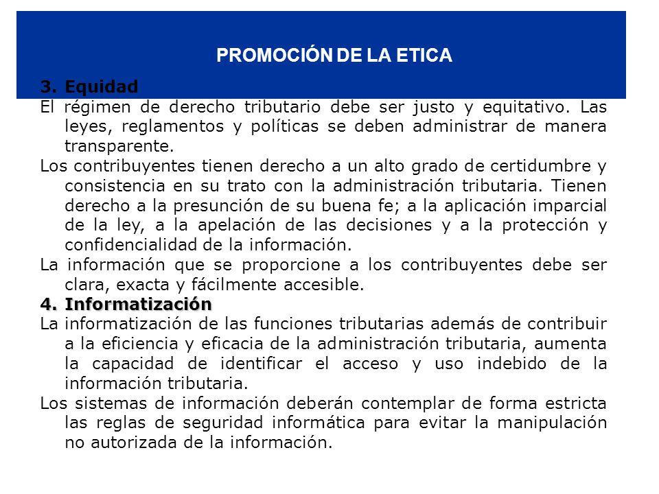 PROMOCIÓN DE LA ETICA 3. Equidad