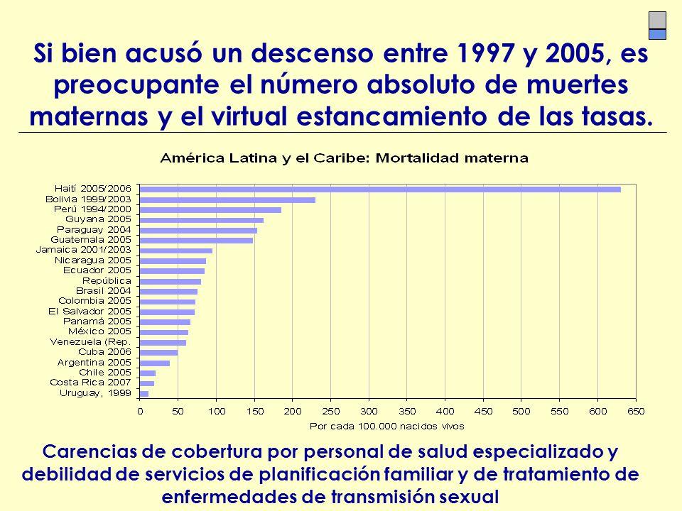 Si bien acusó un descenso entre 1997 y 2005, es preocupante el número absoluto de muertes maternas y el virtual estancamiento de las tasas.