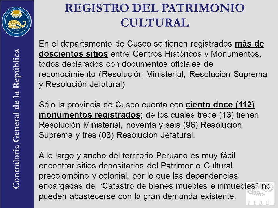 REGISTRO DEL PATRIMONIO CULTURAL