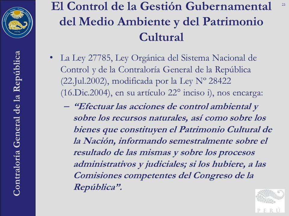 El Control de la Gestión Gubernamental del Medio Ambiente y del Patrimonio Cultural