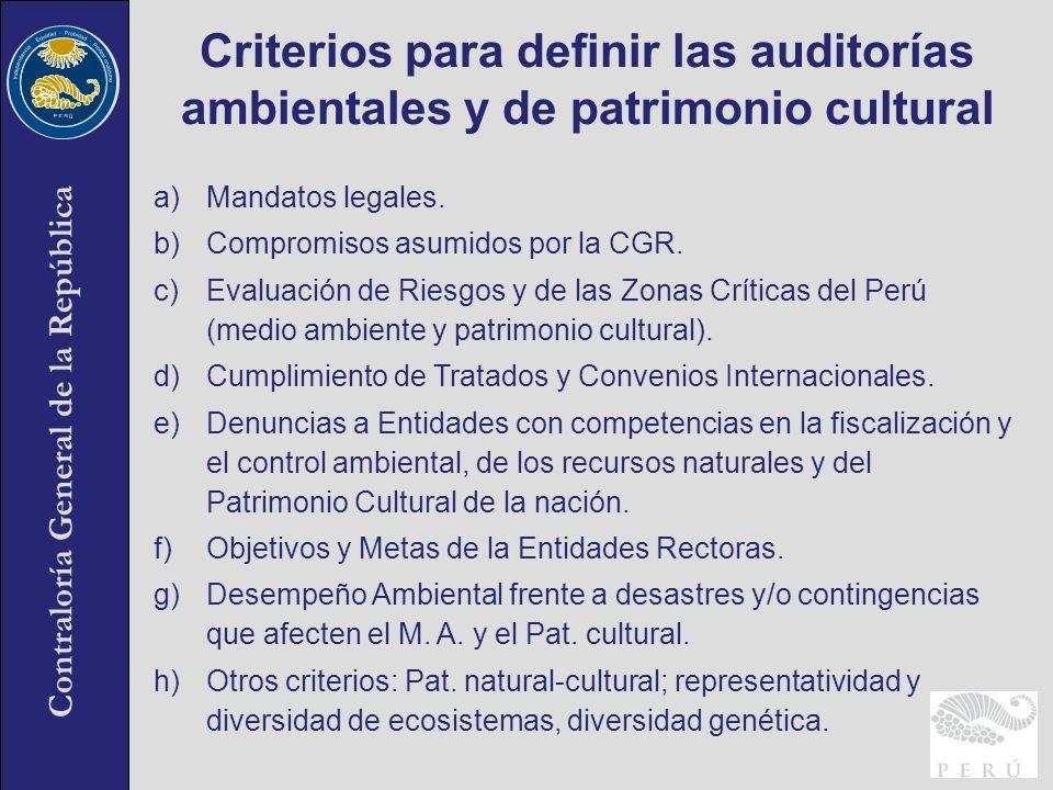 Criterios para definir las auditorías ambientales y de patrimonio cultural