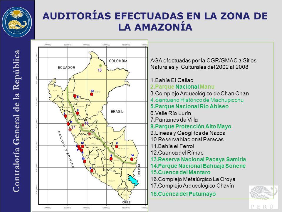 AUDITORÍAS EFECTUADAS EN LA ZONA DE LA AMAZONÍA