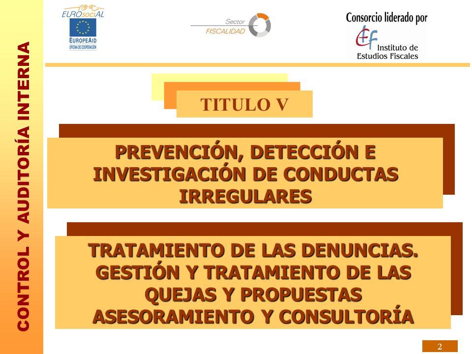 PREVENCIÓN, DETECCIÓN E INVESTIGACIÓN DE CONDUCTAS IRREGULARES