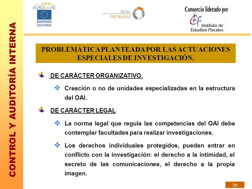 PROBLEMÁTICA PLANTEADA POR LAS ACTUACIONES ESPECIALES DE INVESTIGACIÓN.