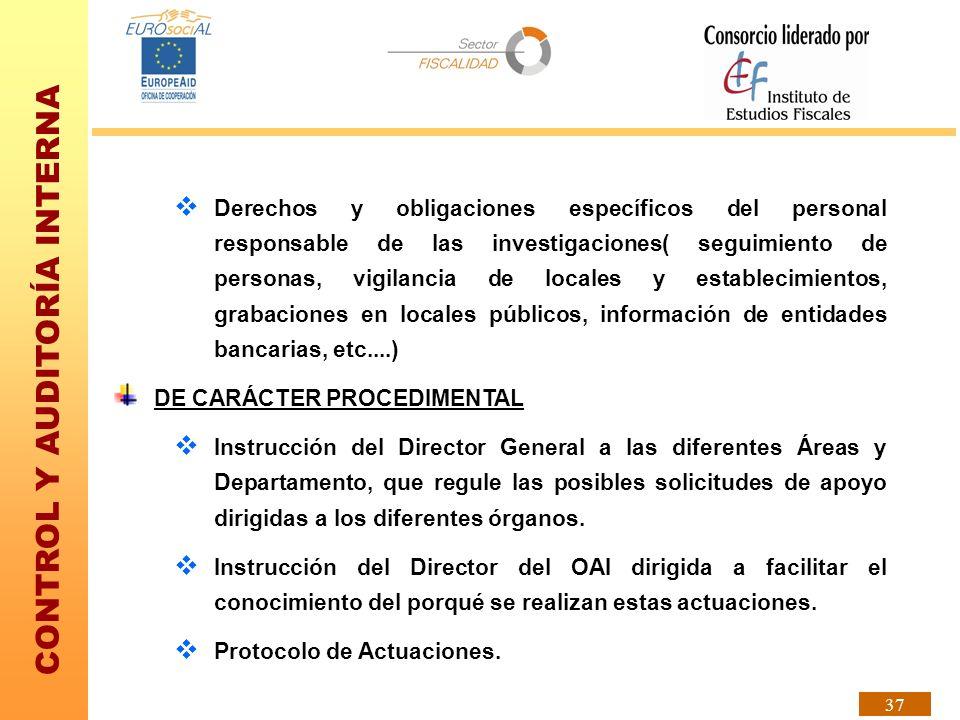Derechos y obligaciones específicos del personal responsable de las investigaciones( seguimiento de personas, vigilancia de locales y establecimientos, grabaciones en locales públicos, información de entidades bancarias, etc....)