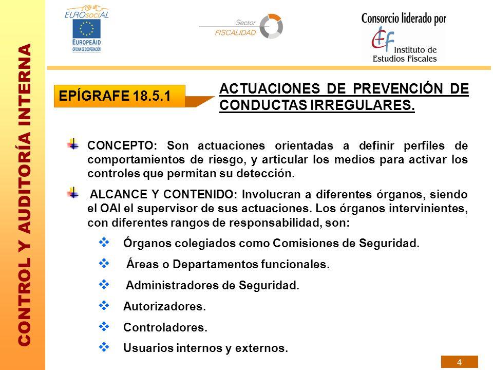 ACTUACIONES DE PREVENCIÓN DE CONDUCTAS IRREGULARES. EPÍGRAFE 18.5.1