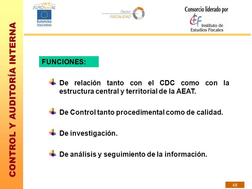 FUNCIONES: De relación tanto con el CDC como con la estructura central y territorial de la AEAT. De Control tanto procedimental como de calidad.