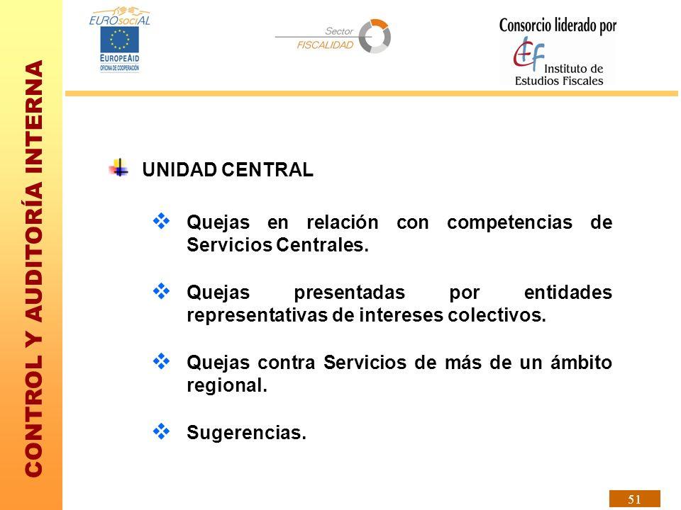 UNIDAD CENTRALQuejas en relación con competencias de Servicios Centrales.