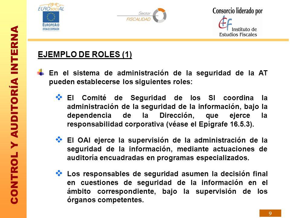EJEMPLO DE ROLES (1) En el sistema de administración de la seguridad de la AT pueden establecerse los siguientes roles: