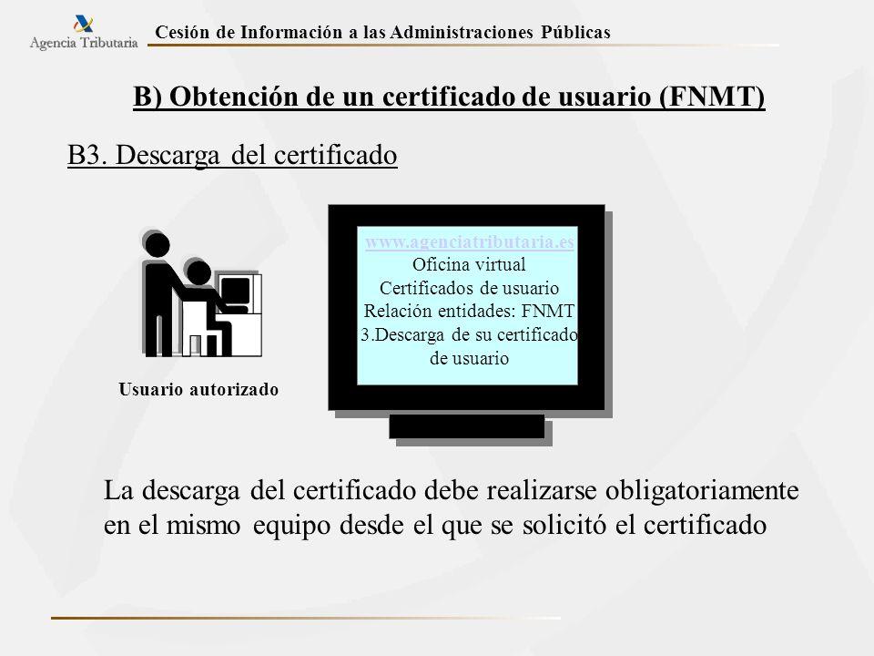 B) Obtención de un certificado de usuario (FNMT)