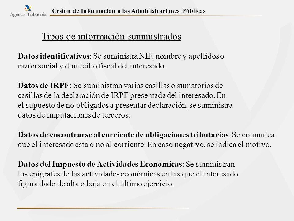 Tipos de información suministrados