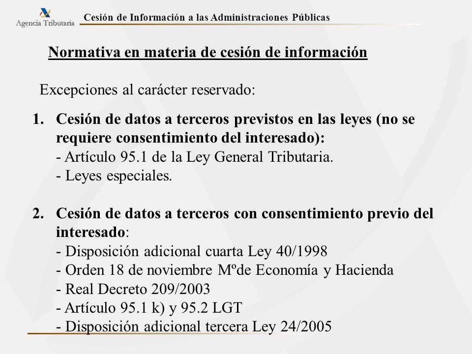 Normativa en materia de cesión de información