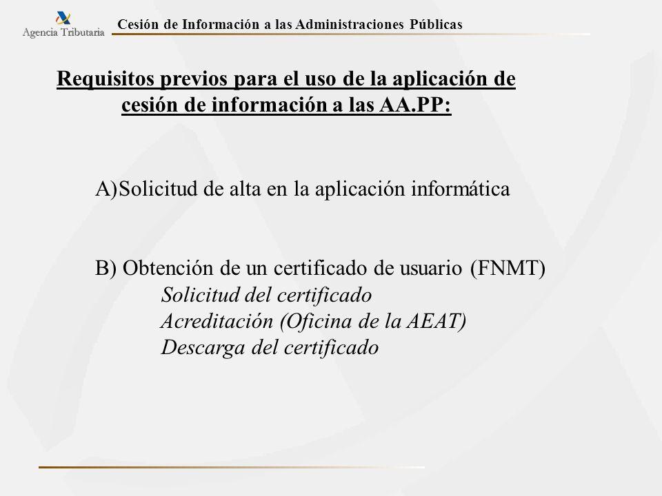Requisitos previos para el uso de la aplicación de