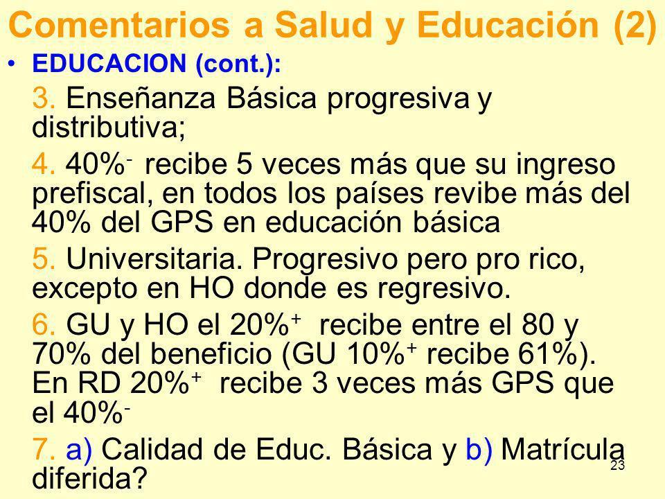 Comentarios a Salud y Educación (2)