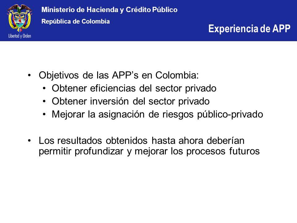 Experiencia de APP Objetivos de las APP's en Colombia: