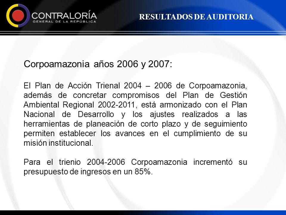 Corpoamazonia años 2006 y 2007: RESULTADOS DE AUDITORIA