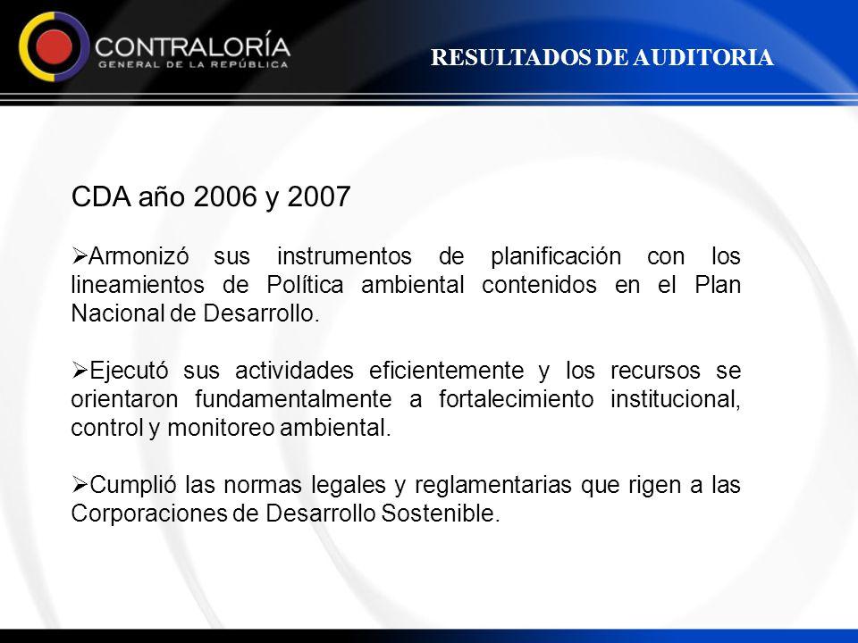 CDA año 2006 y 2007 RESULTADOS DE AUDITORIA