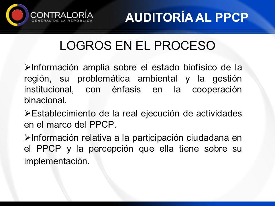 AUDITORÍA AL PPCP LOGROS EN EL PROCESO