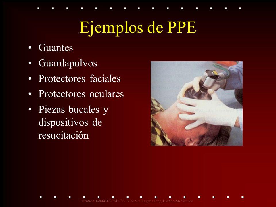 Ejemplos de PPE Guantes Guardapolvos Protectores faciales