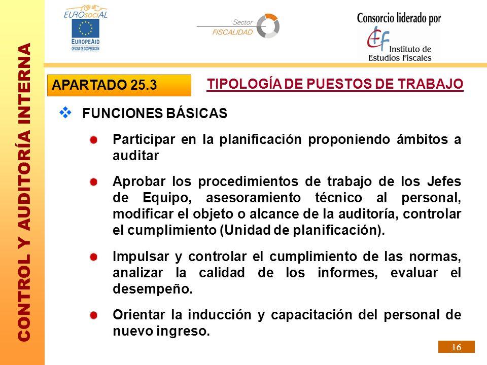 APARTADO 25.3 TIPOLOGÍA DE PUESTOS DE TRABAJO. FUNCIONES BÁSICAS. Participar en la planificación proponiendo ámbitos a auditar.