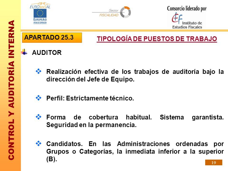 APARTADO 25.3TIPOLOGÍA DE PUESTOS DE TRABAJO. AUDITOR. Realización efectiva de los trabajos de auditoría bajo la dirección del Jefe de Equipo.