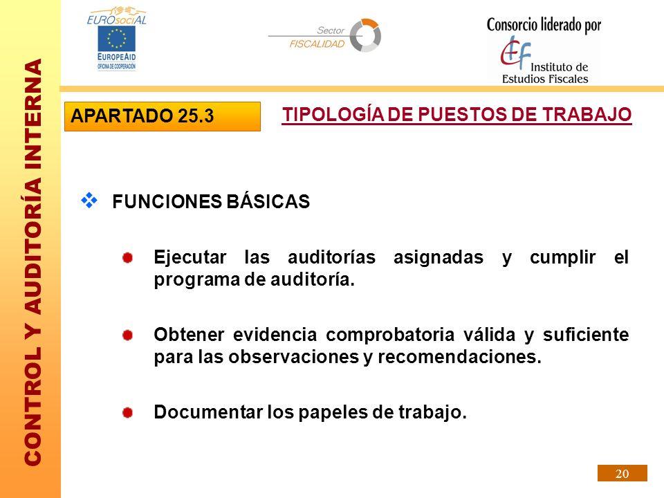 APARTADO 25.3 TIPOLOGÍA DE PUESTOS DE TRABAJO. FUNCIONES BÁSICAS. Ejecutar las auditorías asignadas y cumplir el programa de auditoría.