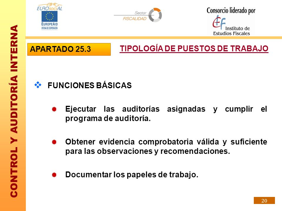APARTADO 25.3TIPOLOGÍA DE PUESTOS DE TRABAJO. FUNCIONES BÁSICAS. Ejecutar las auditorías asignadas y cumplir el programa de auditoría.