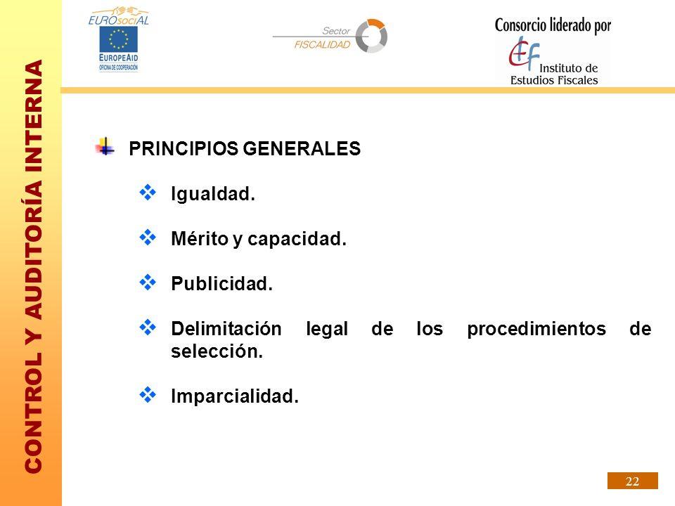 PRINCIPIOS GENERALESIgualdad. Mérito y capacidad. Publicidad. Delimitación legal de los procedimientos de selección.