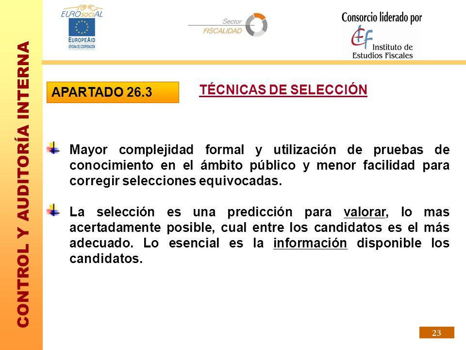 APARTADO 26.3 TÉCNICAS DE SELECCIÓN.