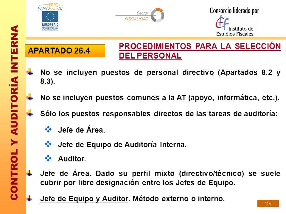 PROCEDIMIENTOS PARA LA SELECCIÓN DEL PERSONAL APARTADO 26.4