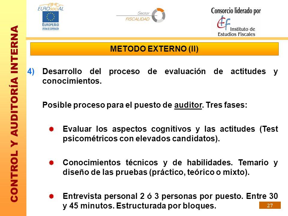 METODO EXTERNO (II) Desarrollo del proceso de evaluación de actitudes y conocimientos. Posible proceso para el puesto de auditor. Tres fases: