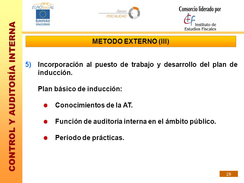METODO EXTERNO (III) Incorporación al puesto de trabajo y desarrollo del plan de inducción. Plan básico de inducción:
