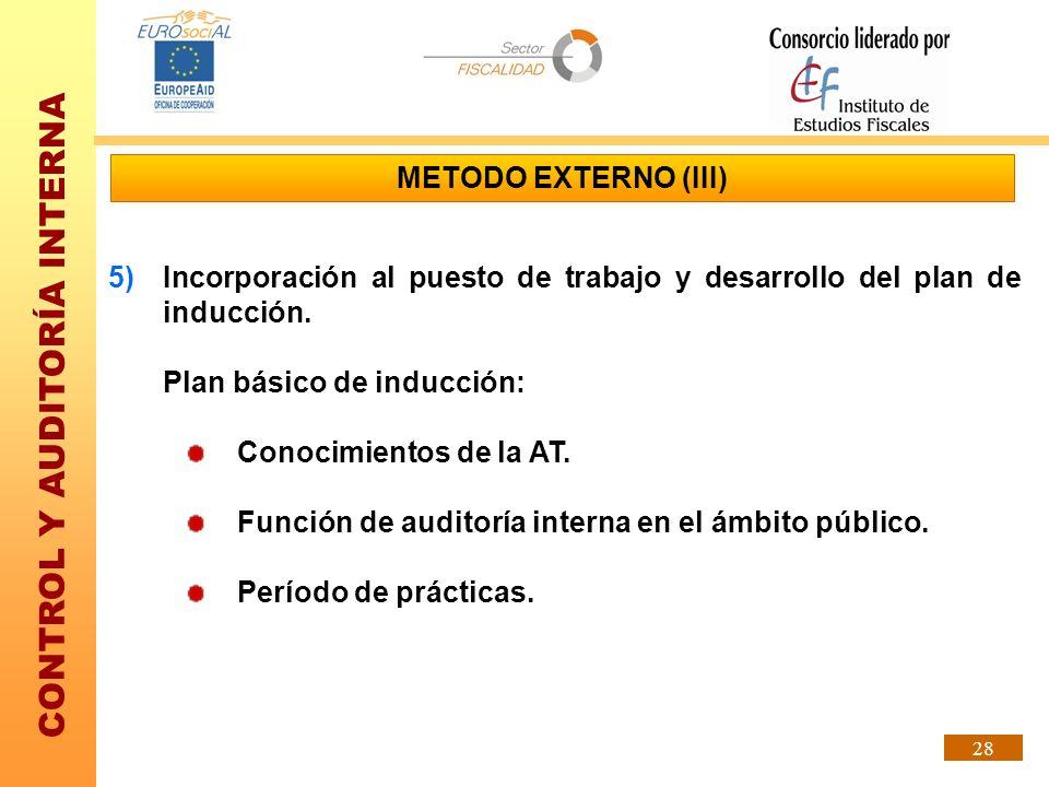 METODO EXTERNO (III)Incorporación al puesto de trabajo y desarrollo del plan de inducción. Plan básico de inducción:
