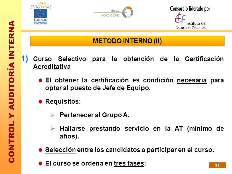 METODO INTERNO (II) Curso Selectivo para la obtención de la Certificación Acreditativa.