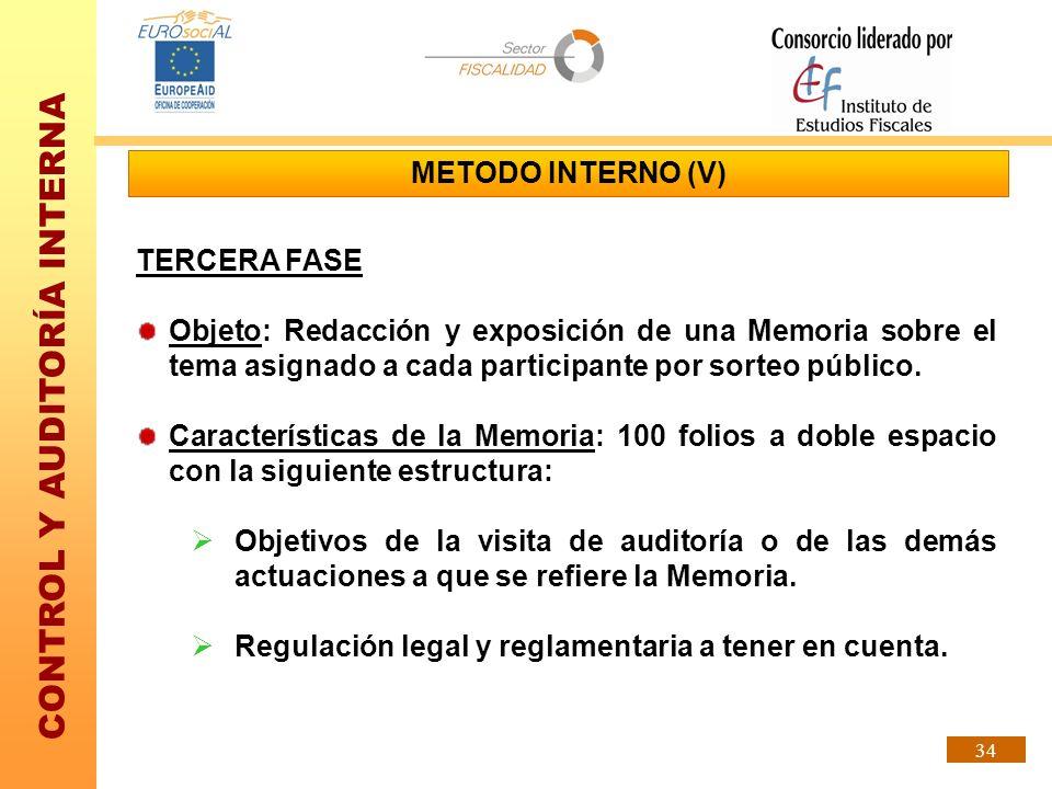 METODO INTERNO (V)TERCERA FASE. Objeto: Redacción y exposición de una Memoria sobre el tema asignado a cada participante por sorteo público.